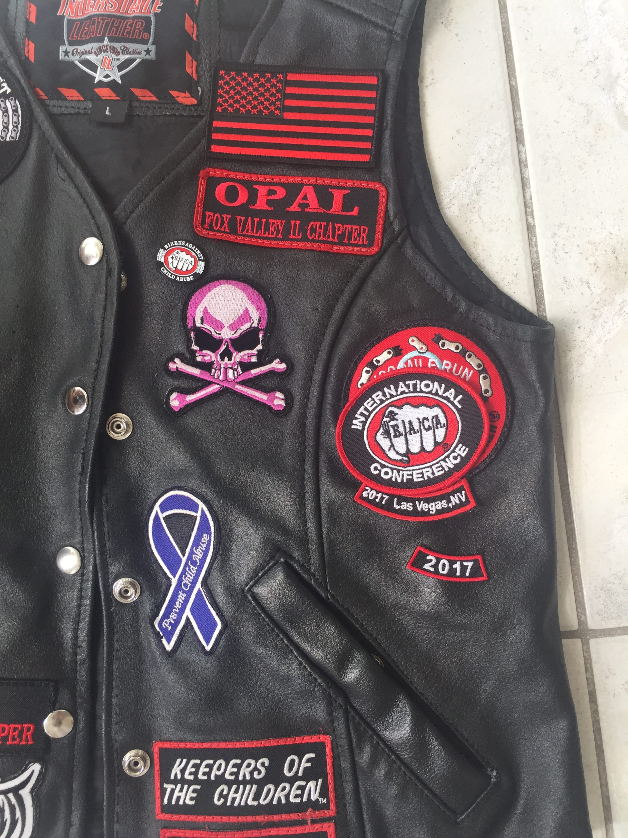 Biker Vest-patches sewn on